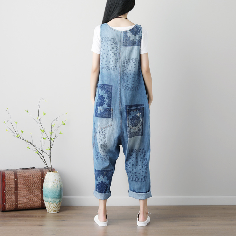 Women's Mandala Print Denim Jumpsuit 4