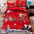 X-mas Рождественский подарок Санта-близнец Король Королева двойная постельное белье Наволочка покрывало пододеяльник набор постельных прин...