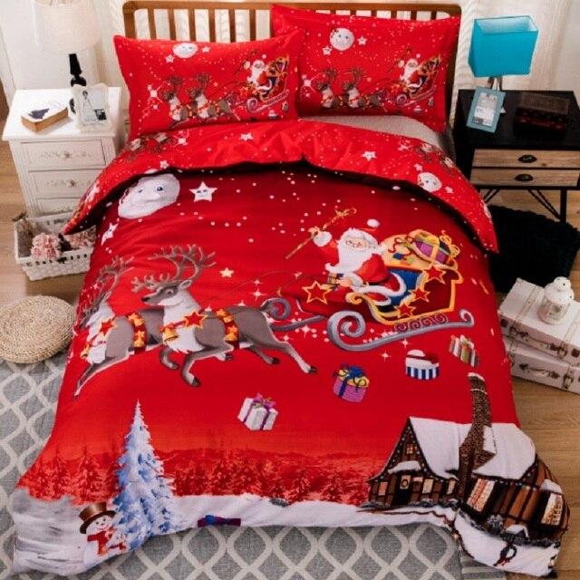 X-mas regalo di Natale Santa doppia re regina doppia biancheria da letto federa