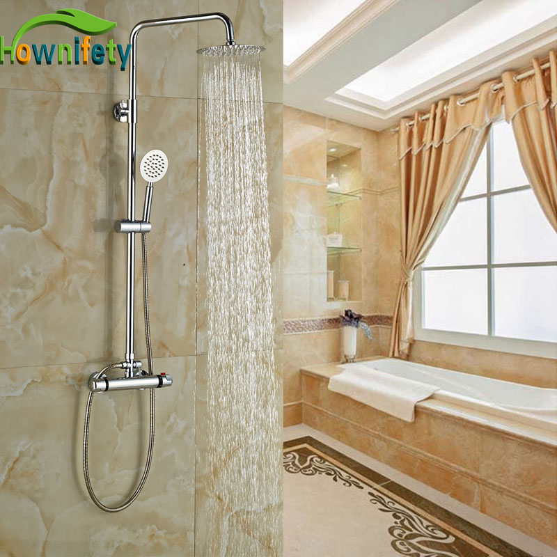 Bathroom 8-in Rainfall Shower Faucet Wall Mounted Brass Chorme Polish Shower Units Double Levers brass chrome polish shower faucet wall mounted 8 in rianfall shower units thermostatic shower
