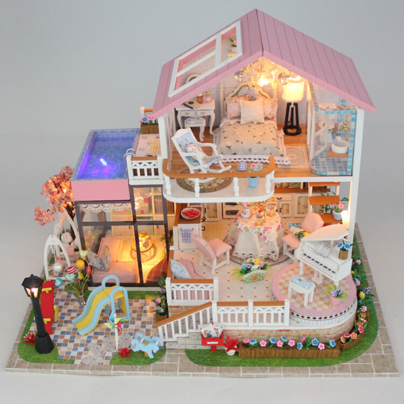 DIY Doll House Wooden Miniature Doll Houses Furniture Kit Box Puzzle Assemble Dollhouse Toys For Children Christmas gift 13846 недорого