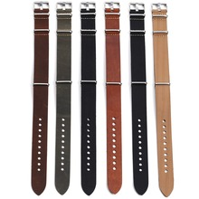 1pc High Quality Genuine Leather Nato Watch Strap Band 20mm 22mm 24mm with Stainless Steel Buckle