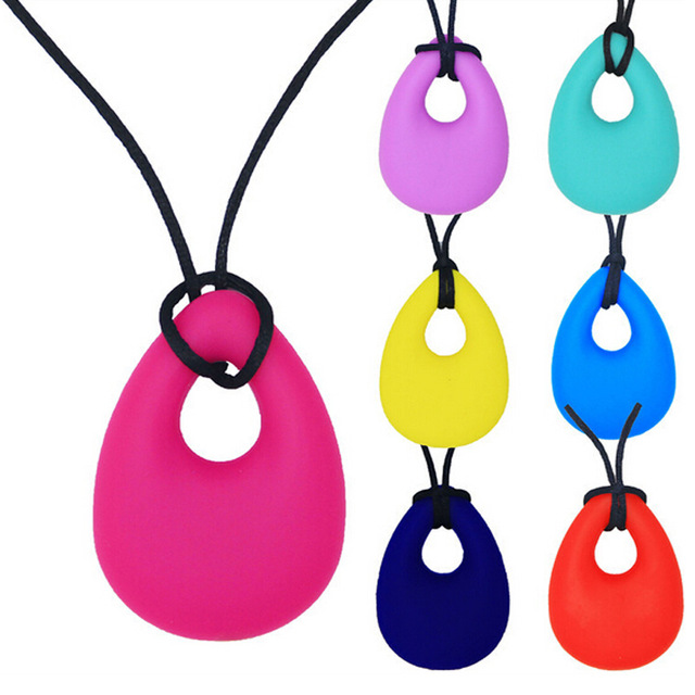 Silicone Baby Teether Toddler Kids Drop Ring Teething Black Chian Necklace Pendants Newborn Molars Tooth Chewable Teething Toy