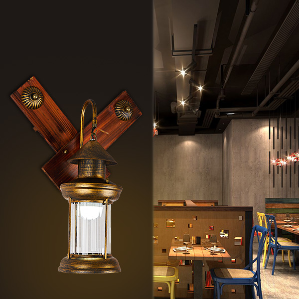 Vintage retro bronze iron lantern Kerosene wall lamp E27 for hallway Bathroom bar Vanity night Lights fixture sconce bedroom купить