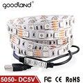 Goodland dc5v cabo usb conduziu a luz de tira 5050 natal flexível levou Tarja TV Fundo Luz 3 teclas Remoto Mini 50 CM 1 M 2 M