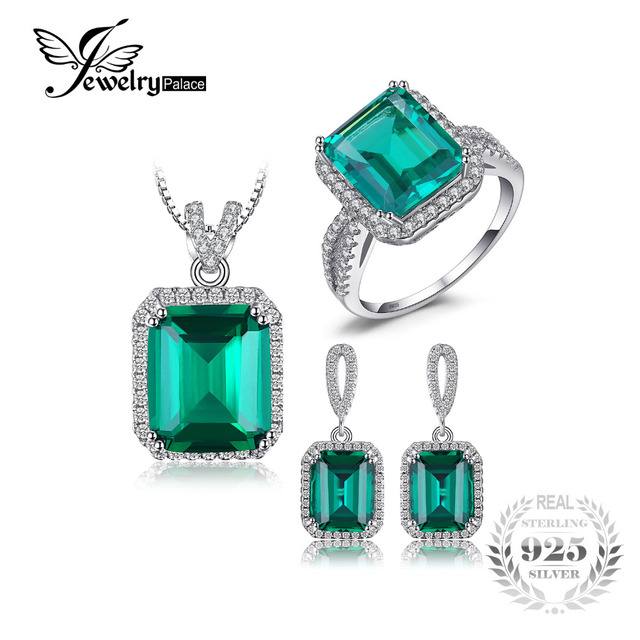 11e1856daa40 Jewelrypalace Klassische Erstellt Smaragd Schmuck Set 925 Sterling Silber  Ring Halskette Anhänger Ohrring Frauen Braut Schmuck