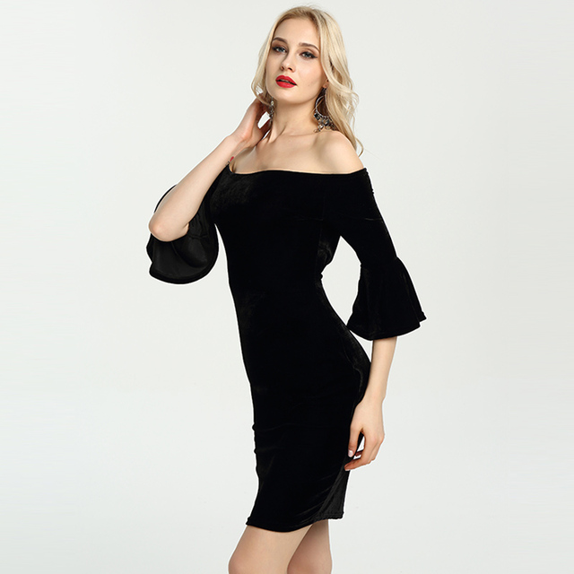 795f45f079ed Sexy Off Shoulder Ruffle Sleeve Velvet Dres Mini Dress Party Dresses Short  Club Wear Women Spring