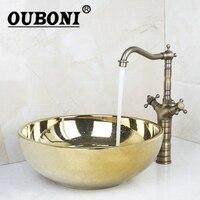 Golen Luxury Ceramic Basin Sink Washbasin Counter Top Washroom Vessel Vanity Sink Bathroom Mixer Retro Faucet