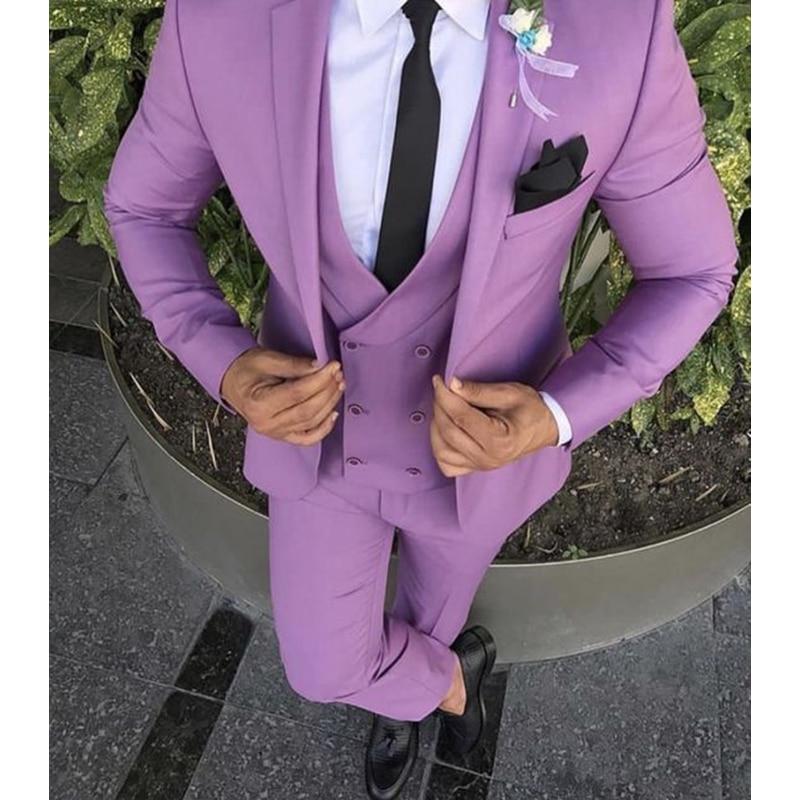 Purple Pink Men Suit Slim Fit Groom Tuxedo 3 Piece Custom Wedding Suits For Men Prom/Party Suits Men Blazer (Blazer+Pants+Vest)