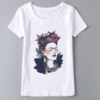 Frida Kahlo Print Summer Clothes 2017 Casual White T Shirt Harajuku Women Tops O-neck T-shirt Female Camiseta Feminina punk rock