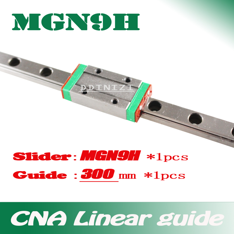 9mm Linear Guide MGN9 L= 300mm linear rail way + MGN9H Long linear carriage for CNC X Y Z Axis Free shipping free shipping linear rail guide ball screw with motor driven y axis 300mm diy x y z axis router for cutting machine