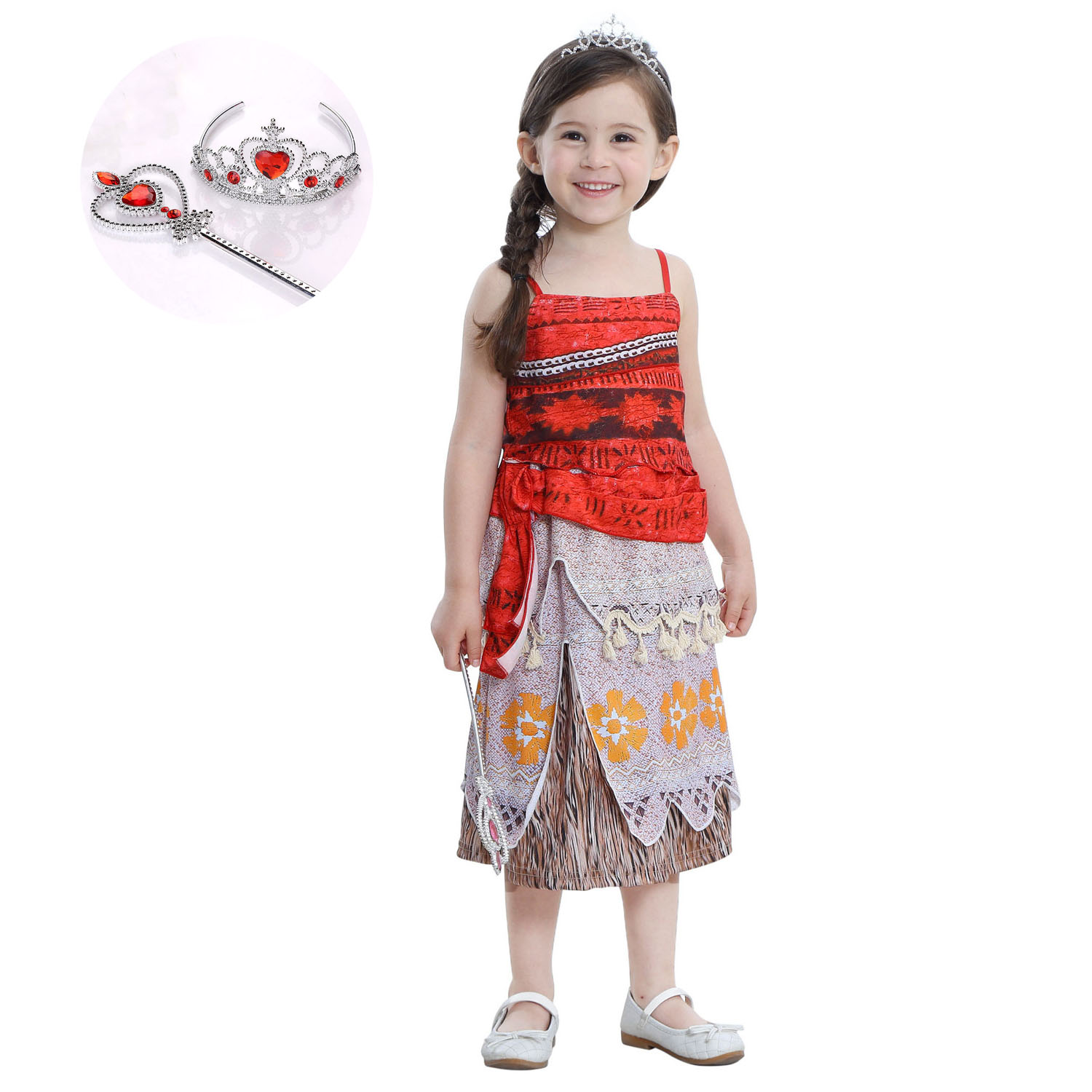 2017 Cotton Kids Halter Children Birthday Outerwear Girl Carnival Halloween Cosplay Moana Costume Summer Dress Clothing Set