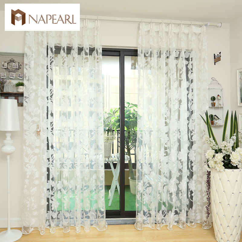 tulle curtains floral design window treatments white fabrics ready made jacquard kitchen door curtains sheer panel - Door Panel Curtains
