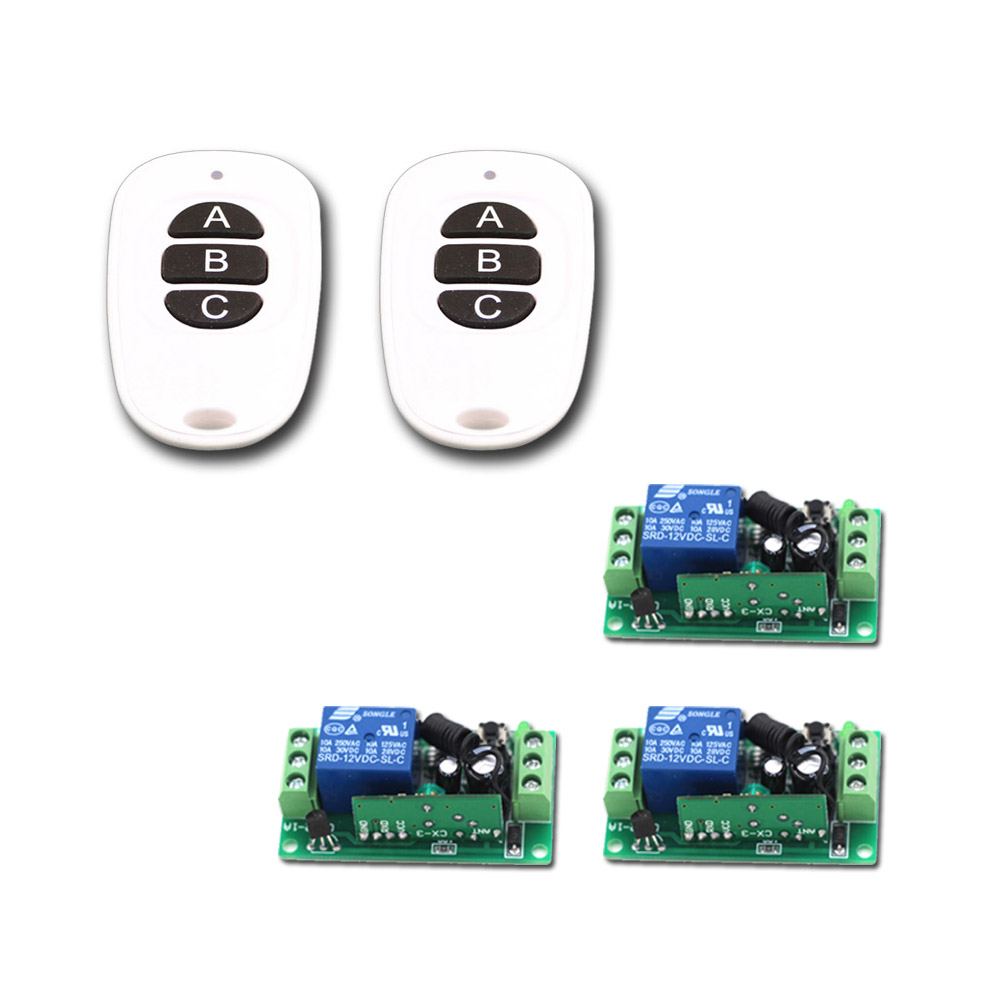 Special Sales DC9V 12V 24V 1CH RF Wireless Remote Control Switch System 2XWhite-Black Transmitter and 3X Receivers with 3Buttons special 1ch rf wireless remote control switch system 1 transmitter