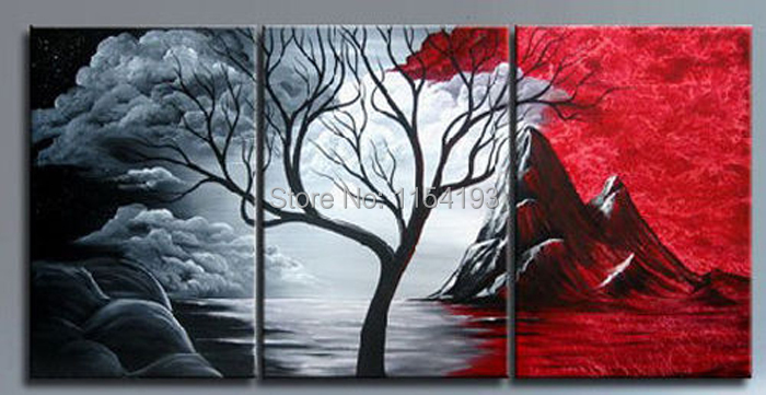 Painting On High Quality 3 Piece Tree Of Life Landscape