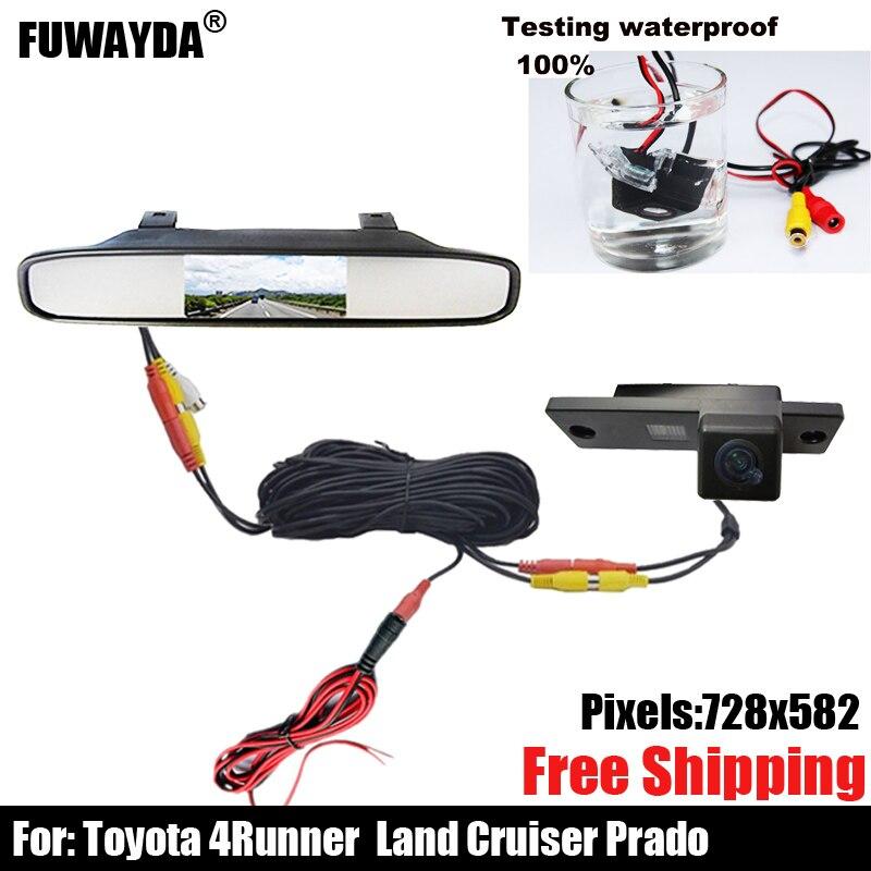 4.3 Pouces LED Long Miroir Moniteur Avec Vue Arrière de Voiture Caméra CCD Pour Toyota 4runner/Land Cruiser Prado 2010