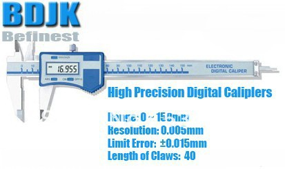 0~150mm High Precision Digital Calipers, Electronic Vernier Caliper Measuring Tool / Instrument with 0.015mm Limit Error 0 300mm high precision digital vernier caliper measuring tool instrument with 0 025mm limit error