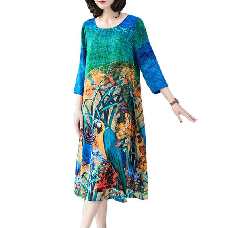 Женское платье с цветочным принтом Elbise f506 повседневное шелковое большого