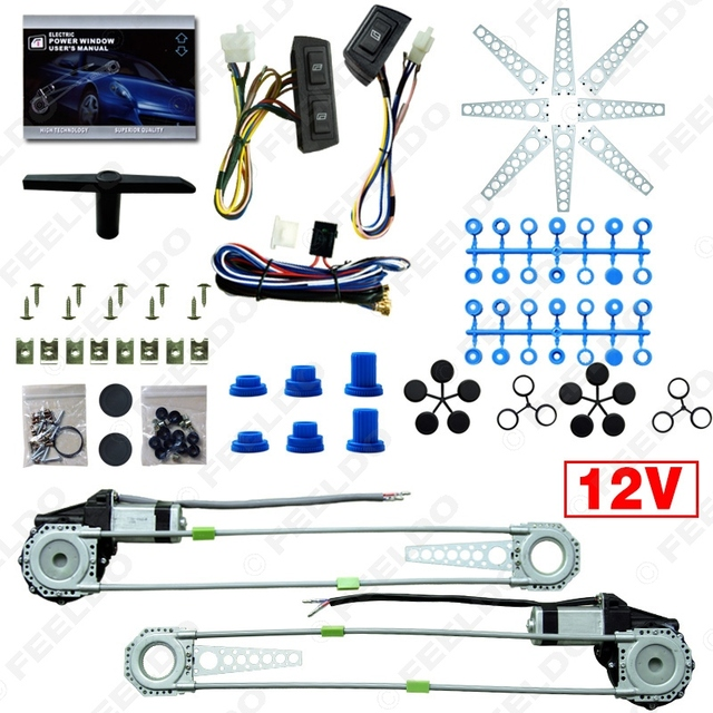 Universal 2-Doors Car Auto Electric Power Window Kits with 3pcs/Set Switches and Harness DC12V #FD-4100