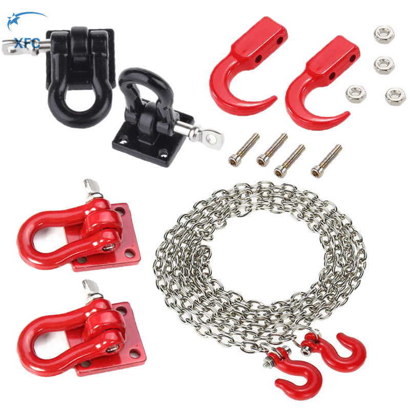 1 Pair 1/10 RC Trailer Hook Tow Chain Tow Shackle Bracket For RC Axial SCX10 Tamiya CC01 D90 D110 TF2 Crawler Car Upgrade Part 1 14 tamiya semi container trailer