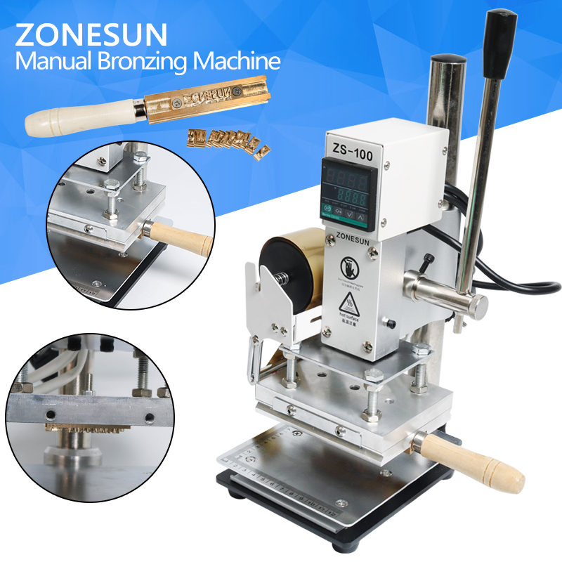 ZONESUN Digital Wood Paper Leather Stamping Machine With Measurement Manual Hot Press ZS-100 Used With Foil Paper a4 size manual flat paper press machine for photo books invoices checks booklets nipping machine