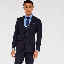 tuxedo groom suit dark blue high quality summer suits wool bleed groomsmen suit