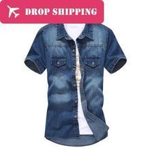 Camisas 12 Цветов мужская Модная Повседневная Тонкий Деним С Коротким Рукавом Рубашки, мужские Fit Стильные Рубашки Ковбоя, размер M-3xl, g1279