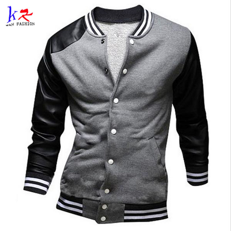 Men/Boy College Baseball Jacket Autumn Fashion Mens Slim Fit Black