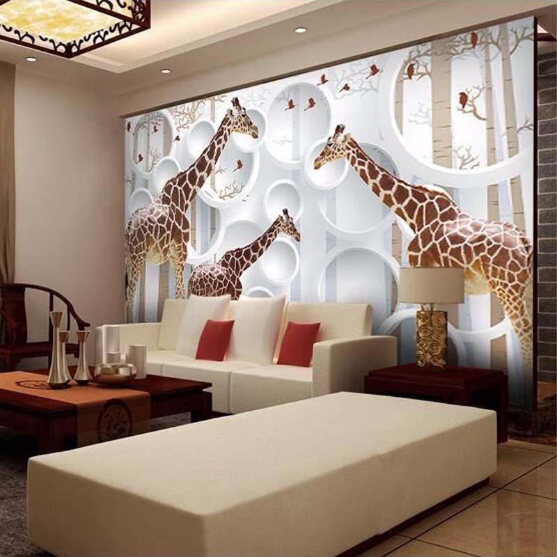 Custom Foto Tapete Malerei Moderne 3D Stereoskopischen Giraffe ...