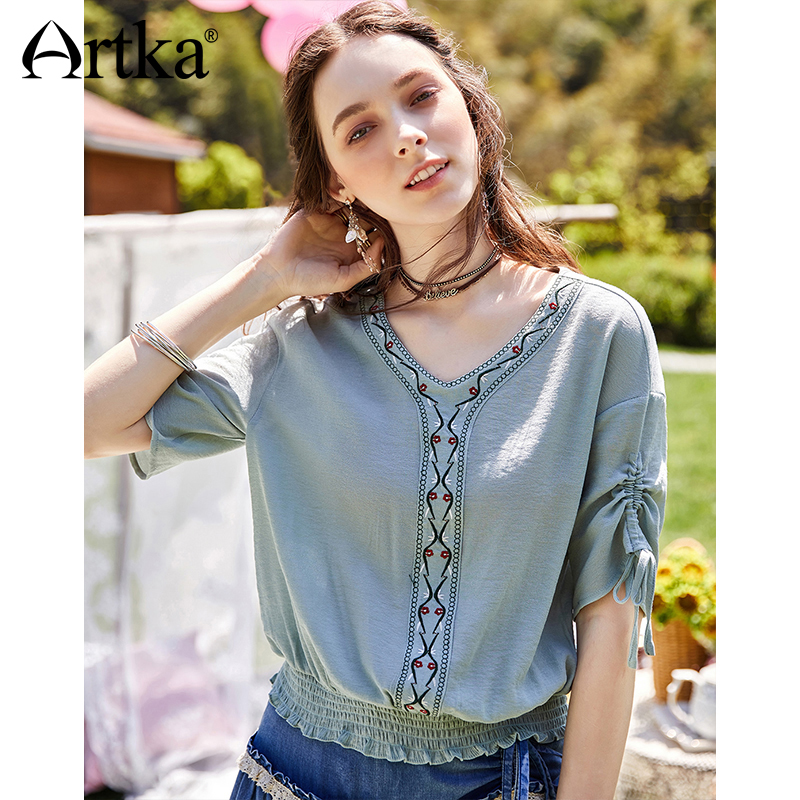 ARTKA 2018 New Summer Women Bohemian Floral Embroidered Loose Waist Thin V-neck Drawstring Vintage   Blouse     Shirt   SA11081X