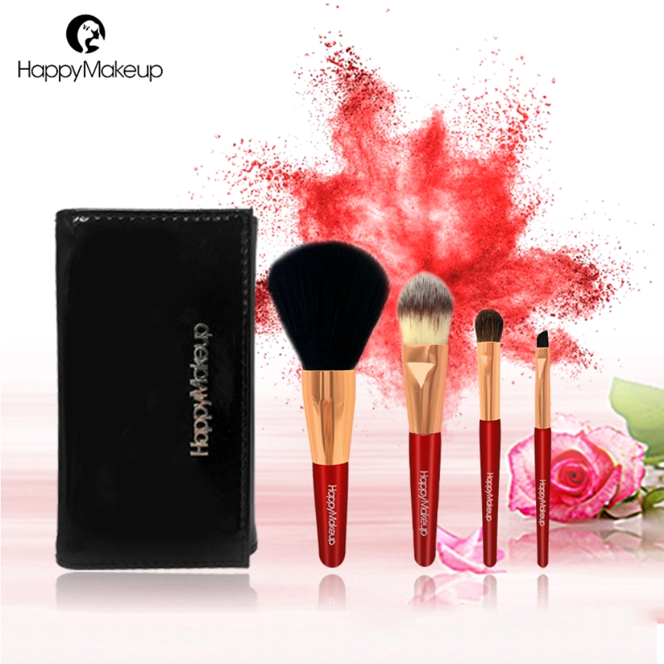 Happy Makeup 4pcs Basic Cosmetic Makeup Synthetic Pony Hair Powder Blusher Eyeshadow Foundation Eyeliner Eyebrow Brushes Set Kit 7 pcs cosmetic face cream powder eyeshadow eyeliner makeup brushes set powder blusher foundation cosmetic tool drop shipping