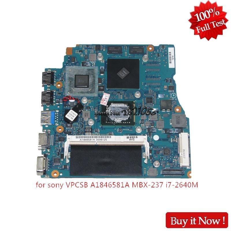 NOKOTION A1846581A MBX-237 V032 10L MP HDI Para SONY VAIO VPCSB Laptop Motherboard ATI HD 6470 m + I7-2640M HM65 + 4g