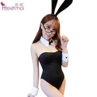 Feeetmoi Black Bunny Girl Women Erotic Lingerie Sexy Costumes Rabbit Ears Mesh Socks Bodysuit Women Sexy