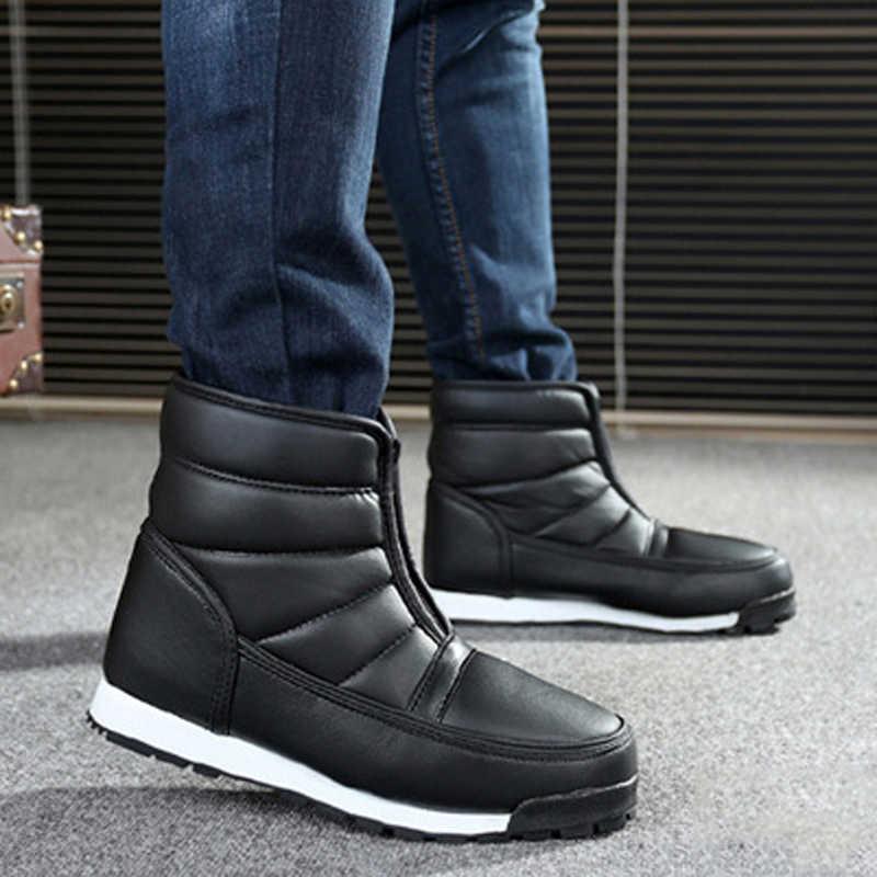 2a61a9dc30efc LAKESHI Winter Shoes Men 2018 Waterproof Non-slip Snow Boots Men Platform  Warm Ankle Boots