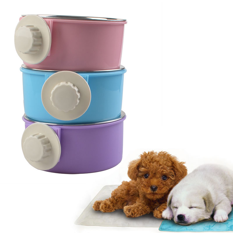 durable dog bowl pet feeding tool hanging bowl abs plastic food container drink water bowl dish