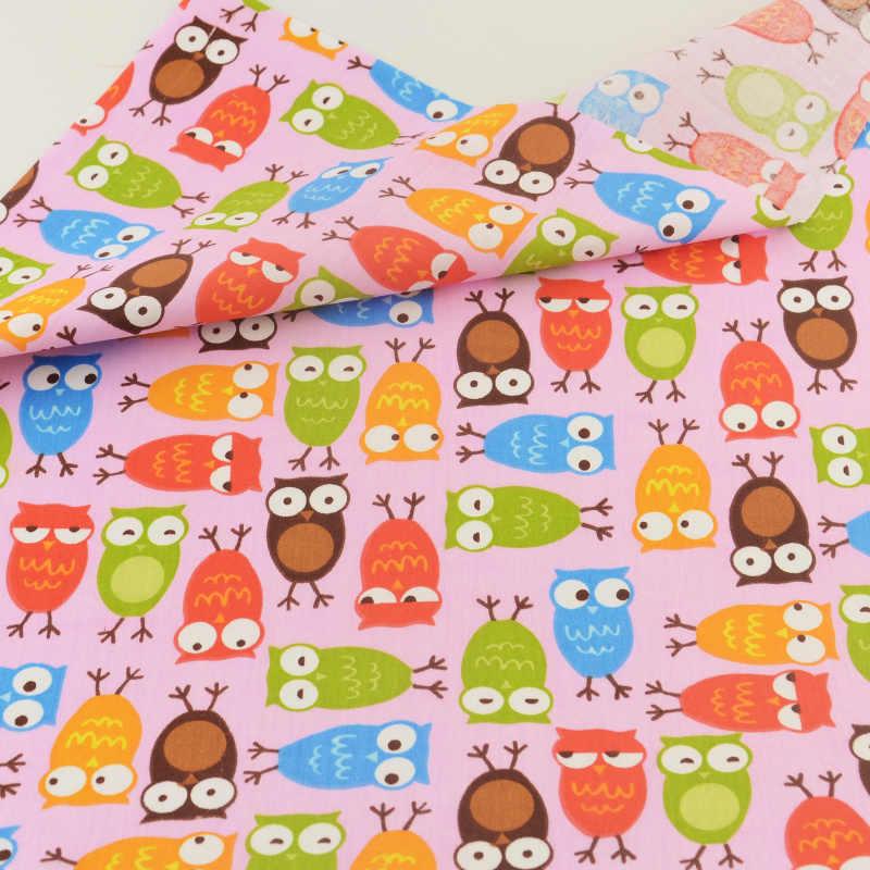 Tela de algodón Teramila, búho rosa de retales, bonito bordado de aves, ropa de costura, artesanía, ropa de cama, decoración, tejido para el hogar