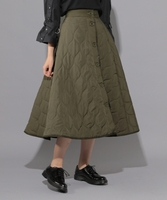 Japanese Style Women Warm Winter Quilted Skirt Army Green Front Pocket Zip Up Long Mid Calf Length Thick Winter skirts