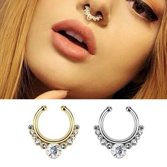 Nouveau acier Chirurgical Argent Or Titane plaqué cristal faux nez anneau  septum faux septum Piercing Bijoux