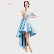 abule 2017 Новый Sweet Light Blue шифон кружево вечернее платье невесты банкет элегантный платье без рукавов Prom Party платье