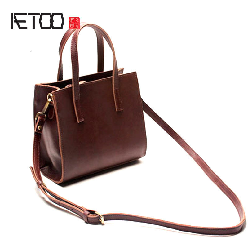 AETOO New leather Tuo Tu package female art shoulder Messenger bag art retro first layer of leather portable small square bag 2018 new female korean version of the bag with a small square package side buckle shoulder messenger bag packet tide