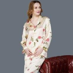 Seide Pyjama Weibliche 100% SEIDE Nachtwäsche Frauen Lange-Sleeve Pyjama Hosen Zwei-Stück Silk Pyjamas Sets Hohe Qualität hause Kleidung