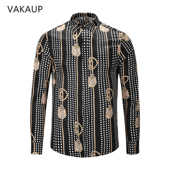 Mens Shirt Camisas Hombre Chemise Homme shirts Luxury Clothes New 2018 Long Sleeve Dress Shirt Printing Shirts Men For Men Рубашка