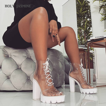 2019 New Summer Peep Toe ankle sandals boots Transparent Cross-tied crystal square heels women's 12cm high heels shoes woman