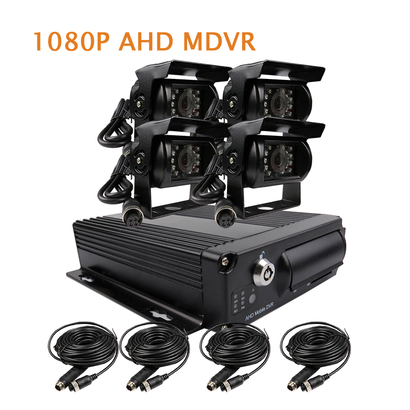 Free Shipping 4 Channel H.264 1080P AHD 256GB SD Car DVR MDVR Video Recorder 4pcs IR Rear View Duty Car Camera for Truck Van Bus 4 channel 256g sd car vehicle dvr mdvr video recorder kit cctv rear view camera dome camera for truck van bus free shipping