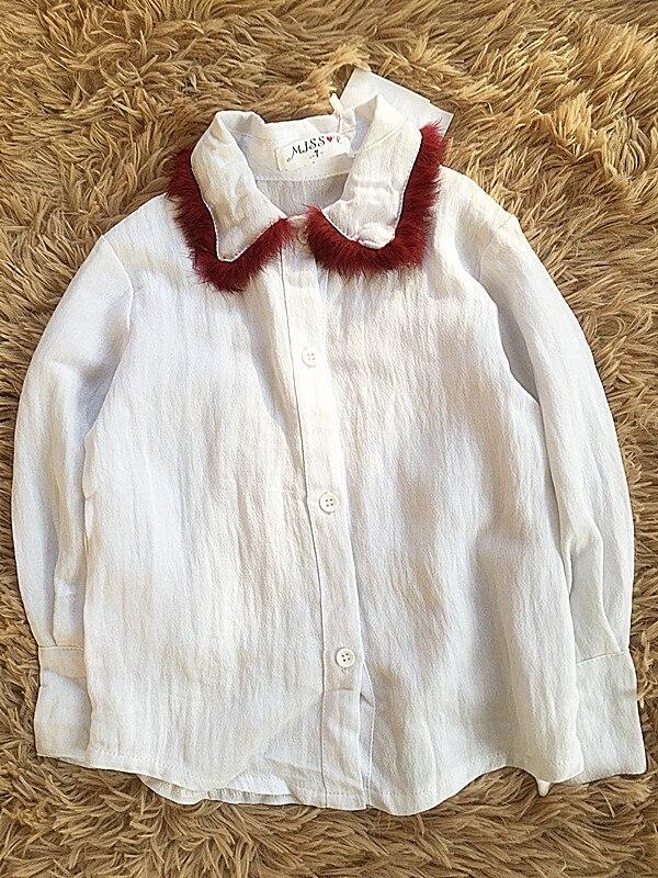 (1 Teile/los) 100% Baumwolle 2019 Weiß Rot Kragen Süße Baby Mädchen Oberbekleidung (2-3year Alten) 95 Cm Reine WeißE