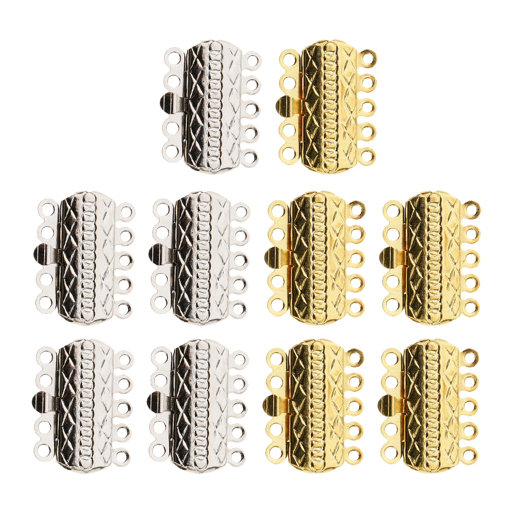 10x 5 Strand Push Slide Lock Clasps Silver Gold Plated Bracelet Necklace Diy Can Be Repeatedly Remolded.