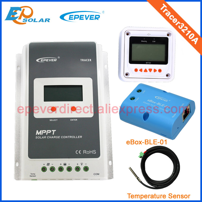 30A Tracer3210A MPPT Solar battery charger with the white MT50 BLE and temperature sensor 12v 24v auto type Max Pv Input 100v