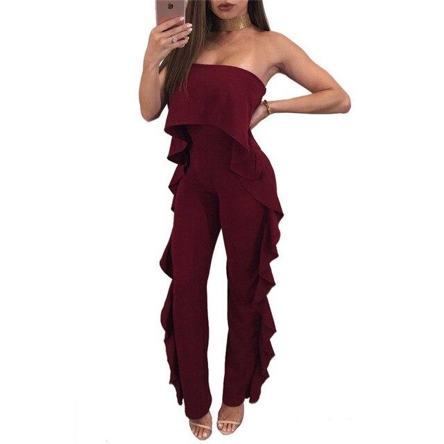 88e9c689fa7f7 Sexy Strapless Jumpsuit Office Lady Wear Fashion Wave Ruffles Women Slim  Fit Long Jumpsuit Women Casual Long Pants Overalls