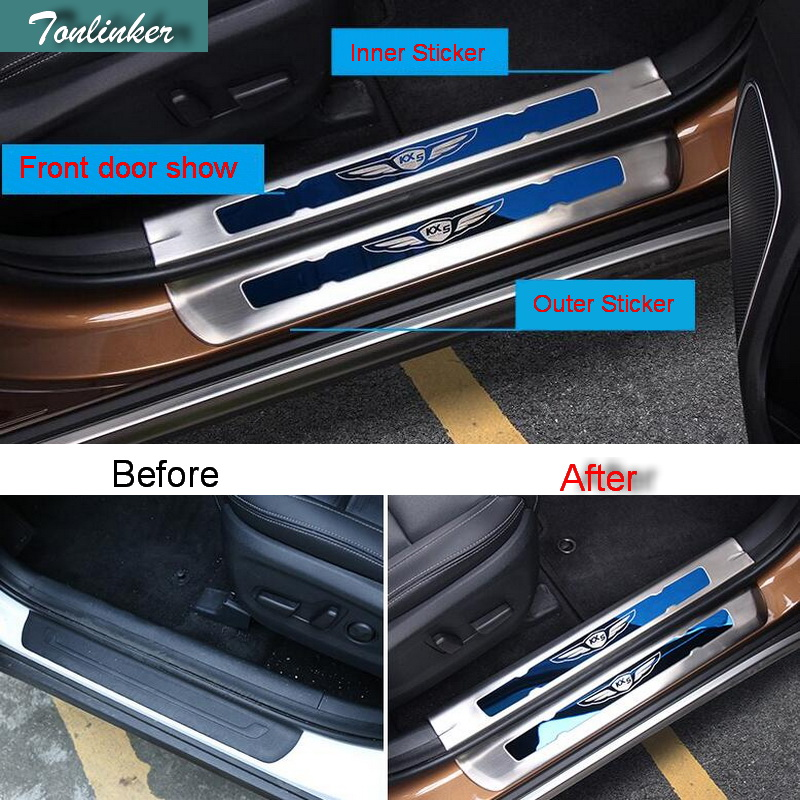 Tonlinker Cover case Sticker For Kia Sportage 2016-17 KX5 car styling 4 pcs stainless steel Door Welcome threshold Cover sticker 2 pcs set stainless steel car air vent circle trim air conditioner protection sticker for kia sportage kx5 ql 2016 2017 parts