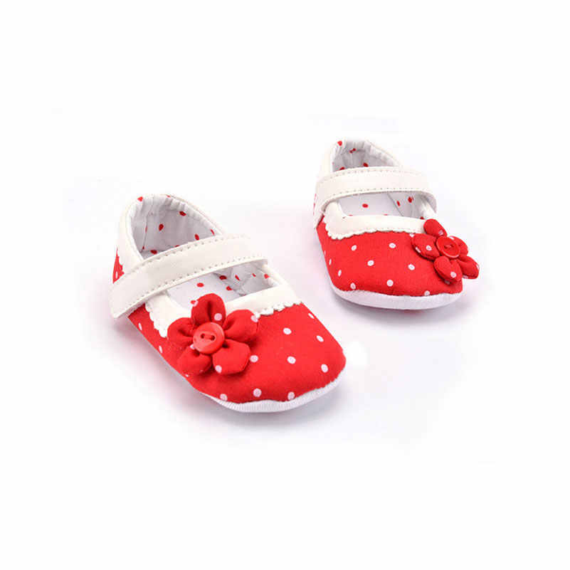 5536f9b07fcdc Dots Flowers Baby First Walking Shoes Girls Prewalker Newborn Toddler 0-18  Months Soft Bottom Anti-Slip Indoor Shoes Play Mats